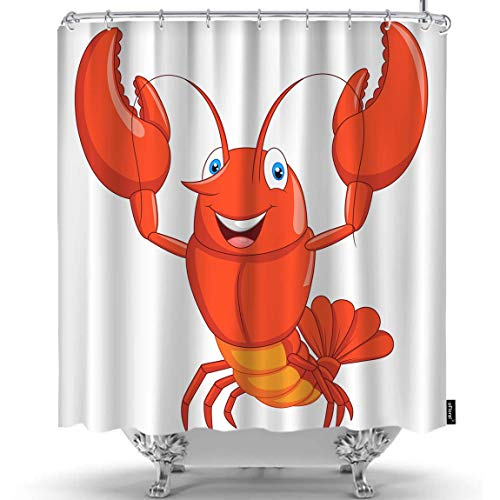 oFloral Crayfish Shower Curtain Funny Cute Lobster Animal Crayfish Healthy Sea Food Decorative Fabric Shower Curtains Liner with Hooks Home Decor for Bathroom Shower Bathtub 60x72 Inch ()