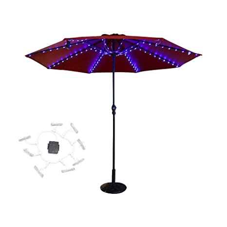 Light Sea Patio Umbrella Light Led Solar Rechargable Or Battery Powered 8 Light Modes Auto On Off 8 Branches 104 Leds For Patio Umbrellas Camping