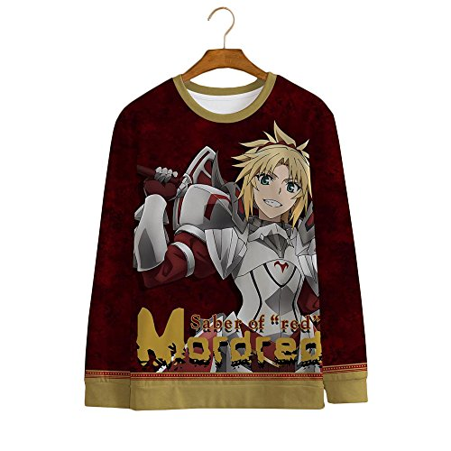 Rain's Pan Anime Fate Stay Night Saber Cosplay Costume Fleece Long Sleeve T Shirt Hoodies Casual Tops Outfits Unisex (US L=Asia XXL, 02)