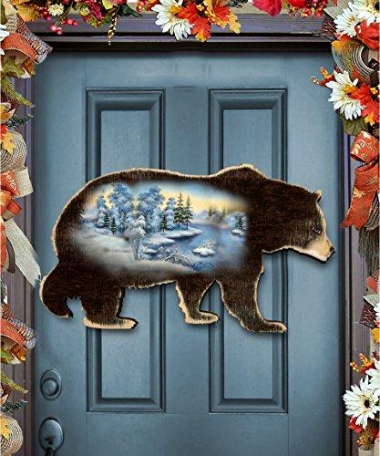 G.DeBrekht Black Bear Scenic Wildlife Nature Keepsake Rustic Vintage Wooden Door Hanger , Wall Decor (Bear Wreath Hanger)