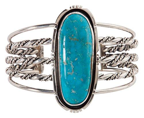 Kingman Turquoise Bracelet (Navajo Native American Kingman Turquoise Bracelet by Aline)