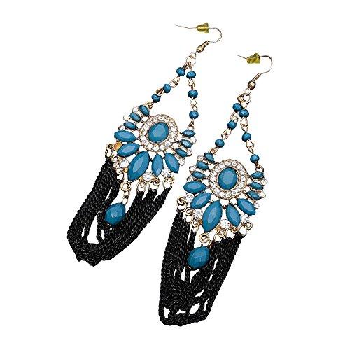 Oriental Metal Bead - Ethnic Blue Goldtone Niello Dangle Earrings Oriental Beads Rhinestones Oriental Jewelry (Blue)