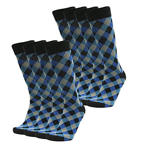 SUTTOS Mens Superlite Groomsmen Wedding Funky Blue Black Plaid Diamond Sharp Mid Calf Crew Dress Socks,8 Pairs OS