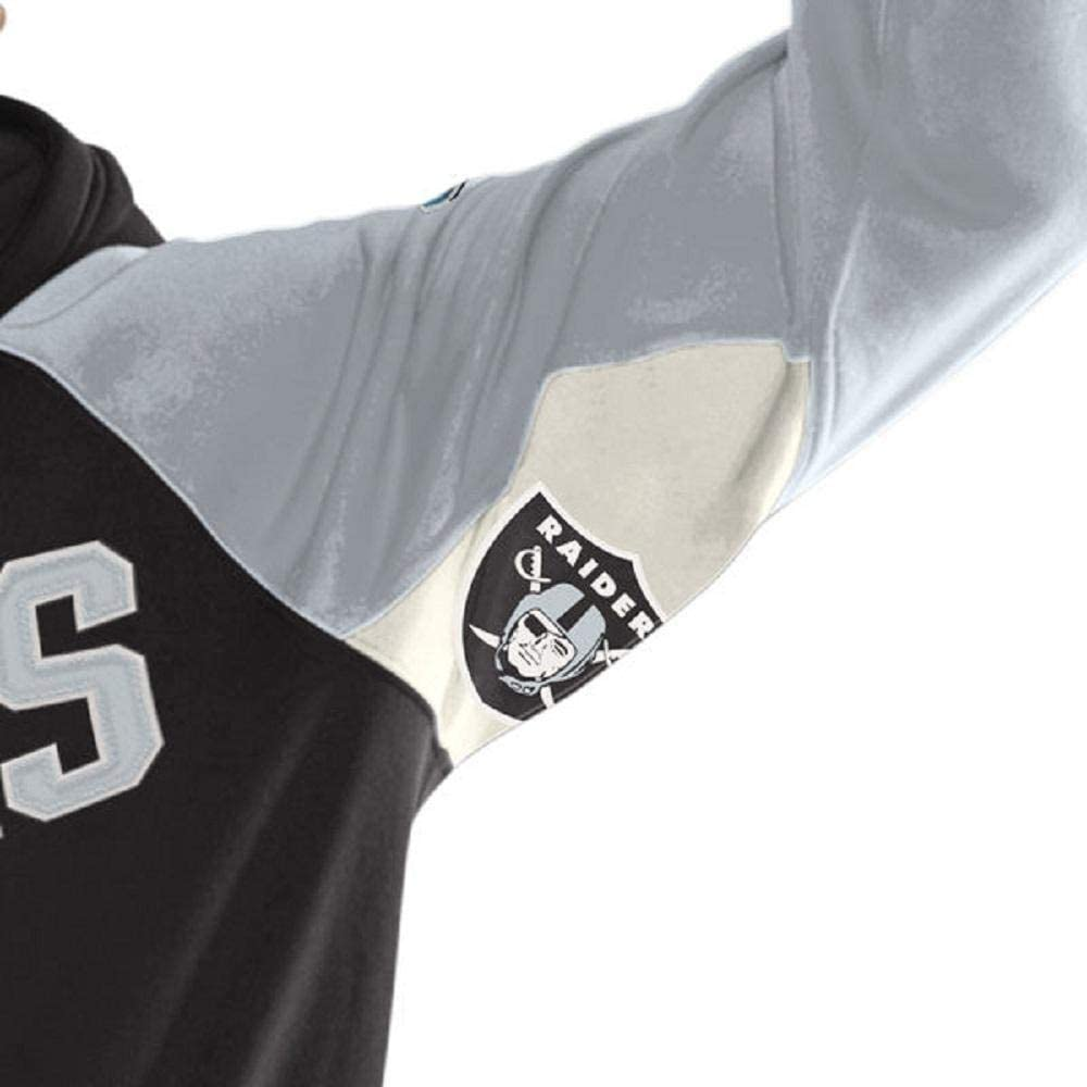 Raiders Football Mens Black//Silver Hands High Free Agent Pullover Hoodie