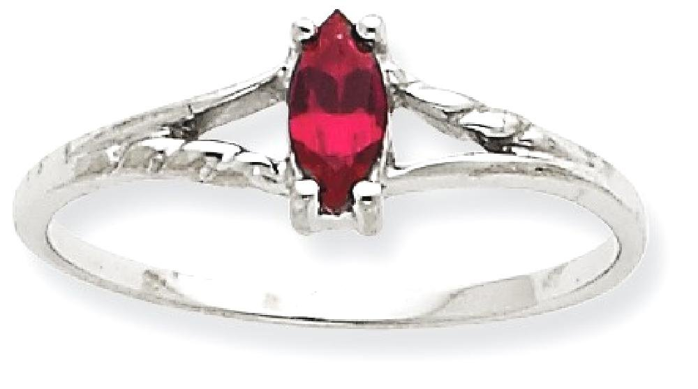 ICE CARATS 10k White Gold Red Garnet Birthstone Band Ring Size 6.00 Stone January Marquise Fine Jewelry Gift Set For Women Heart