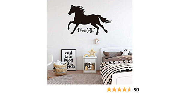 Horse Wall Sticker Decal With Personalised Bespoke Name Vinyl Bedroom Box