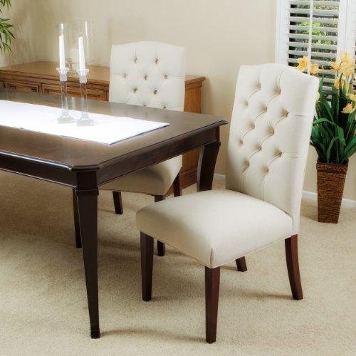 elegant linen upholstered parsons dining
