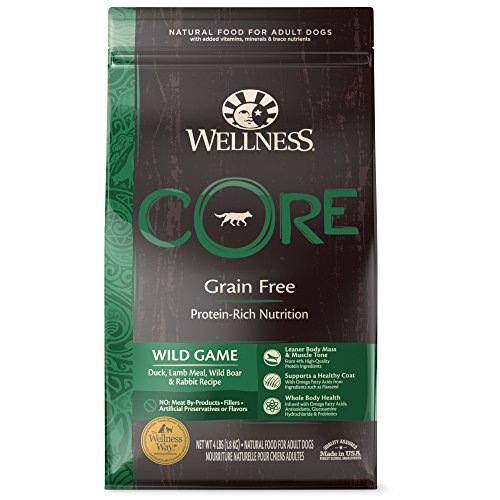 Wellness CORE Natural Grain Free Dry Dog Food, Wild Game Duck, Turkey, Boar & Rabbit, 4-Pound Bag