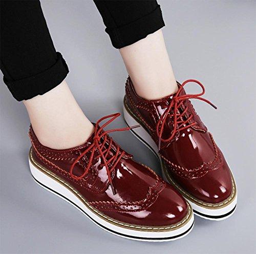 Frau Frühling Aufzug Schuhe Dameneinzel Schnürsenkel Hang mit dicker Kruste Muffin Schuhen wine red
