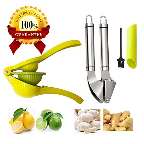 Garlic Press Lemon Squeezer Manual Kitchen Utensil Ginder Mincer Citrus Lime Juicer Slicer Peeler Stainless Steel TeeVea