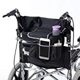 Fushida Storage Bag for Wheelchairs, Walker Lightweight Scooter Travel Pouch for Carrying Loose Items and Accessories, Multi-Purpose Tote Bag on Wheelchairs(Black, FGJ429-CA)