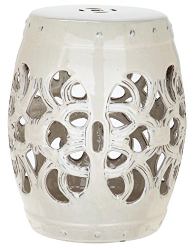 - Safavieh Castle Gardens Collection Imperial Vine Cream Glazed Ceramic Garden Stool