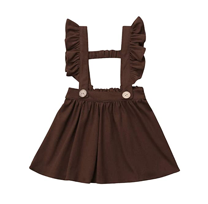 3a03a291767 doublebabyjoy Baby Girl One Piece Ruffles Suspender Skirt Overalls Infant  Toddler Solid Color Sleeveless Backless Dress