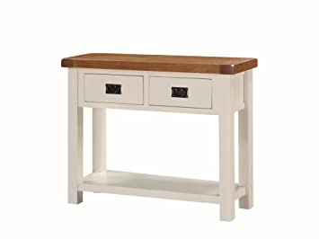 Alba Painted Oak Large Console Table   Painted Oal Hall Table With 2  Drawers And Undershelf