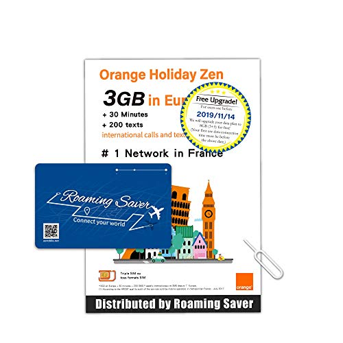 COMBO DEAL - Orange Holiday Official Authorized Europe Prepaid SIM Card 8GB  Internet Data in 4G/LTE (Data tethering Allowed) + 30min + 200 Texts from