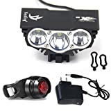 Nestling Lospu HY X3 Cree XML U2 3 LED Rechargeable Waterproof 6600lm Black Bicycle Bike Light Flashlight Torch Light For Sale
