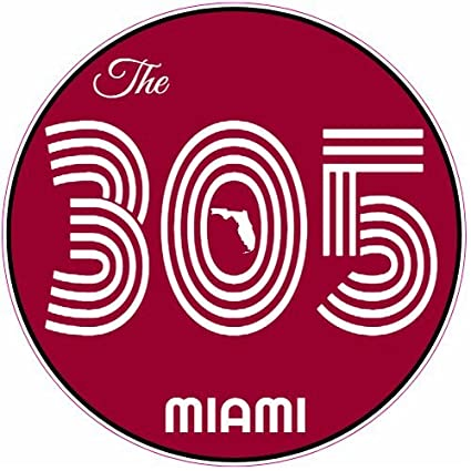 U.S. Custom Stickers The 305 Miami Circle Sticker, 3""