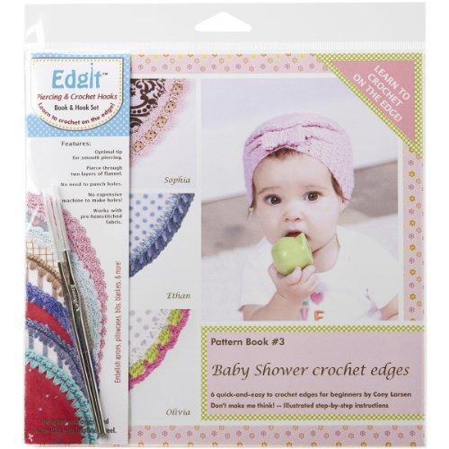 - Ammees Babies EDGIT-E110 Edgit Piercing Crochet Hook and Book Set, Baby Shower Crochet Edges