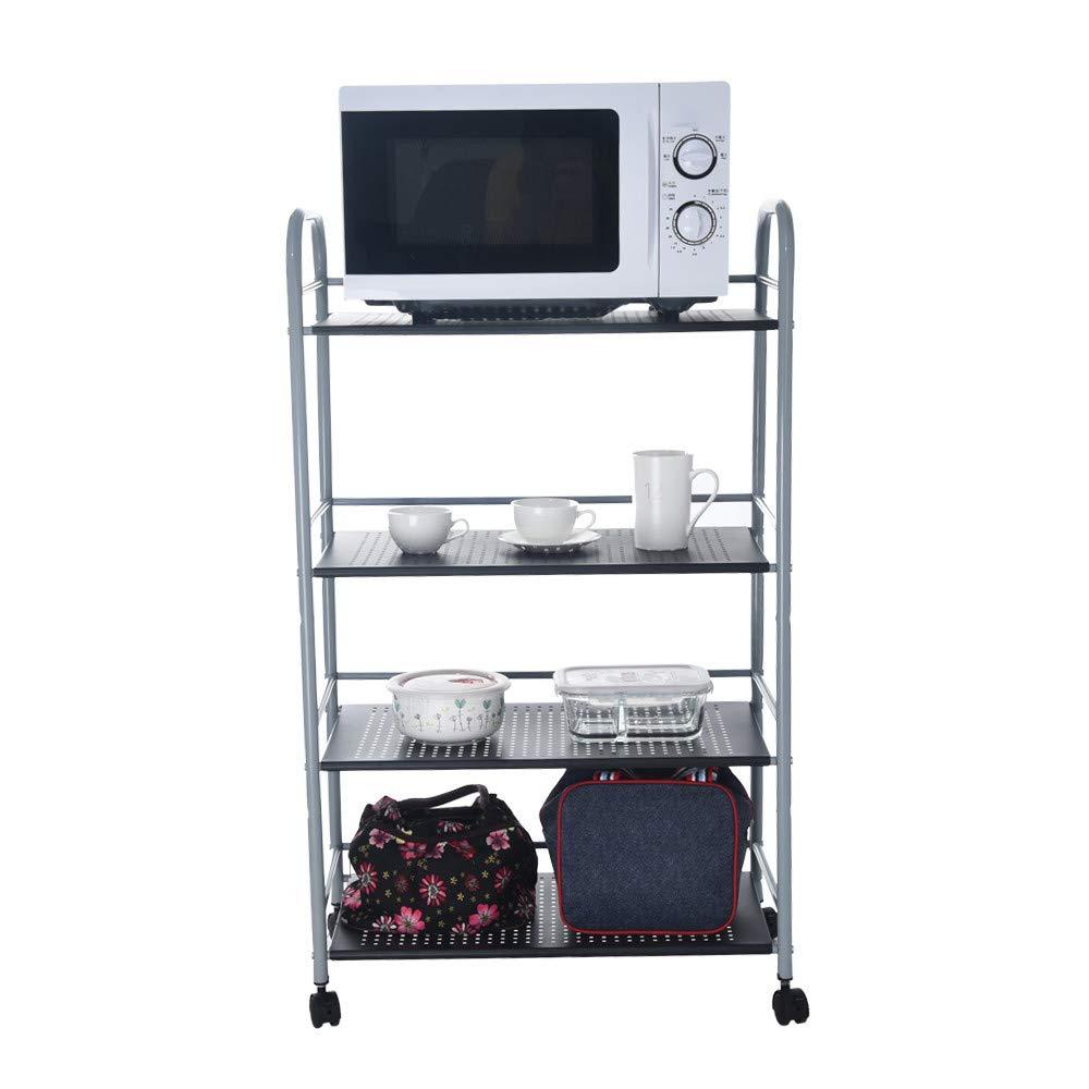 YetouKitchenware 4-Shelf Storage Rack Microwave Oven Holder Wheeled Trolley Space-Saving Wardrobe Storage Cabinet Chests Organizer Portable