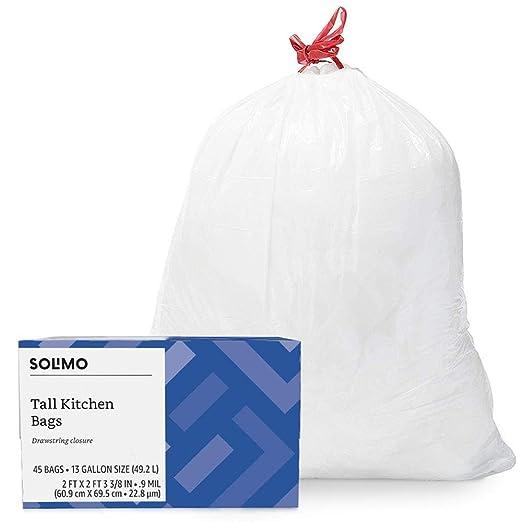 Amazon Brand - Solimo Tall Kitchen Drawstring Trash Bags, 13 Gallon, 45 Count
