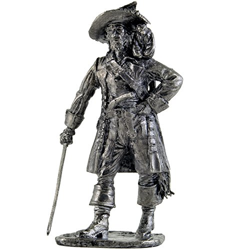 (Pirate with monkey. Captain Hector Barbossa. Metal sculpture. Collection 54mm (scale 1/32) miniature figurine. Tin toy soldiers)