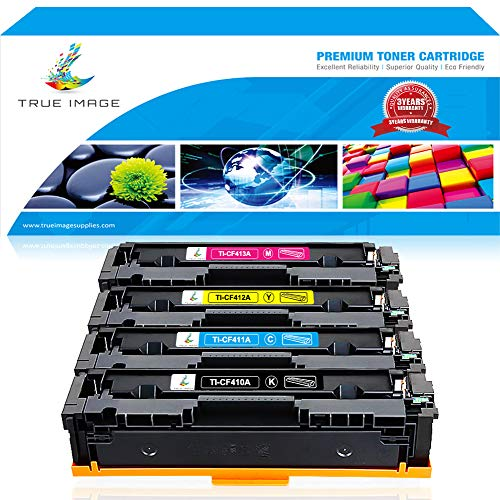 True Image 4 Packs Compatible for HP 410A CF410A 410X CF410X Cartridge HP Color Laserjet Pro MFP M477fdw M477fnw M477fdn M477 - M452dw M452nw M452dn M452 M377dw Printer Ink (Black Cyan Yellow Magenta)