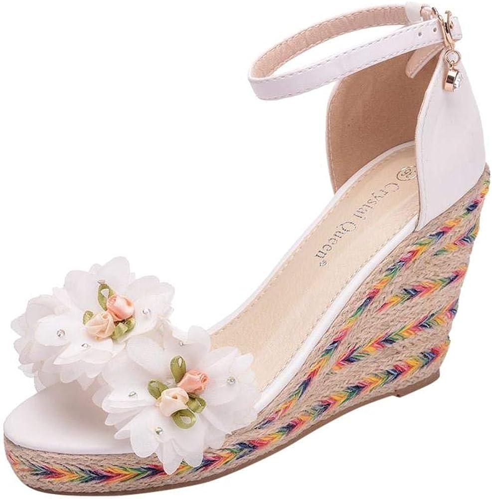 Women's White Flower Wedges Sandals