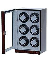 Six Watch Winder Ebony Wood w/LCD Dispaly