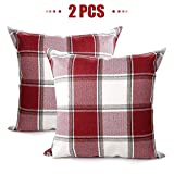 iTech More Christmas Throw Pillow Covers 18 x 18- Red White Buffalo Checkers Plaid Cotton Linen Farmhouse Holiday Decorative Cushion Cover for Couch Bed Sofa, Set of 2 (Red and White, 45x 45cm)