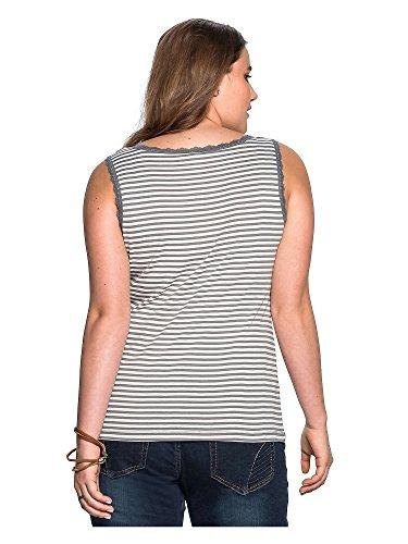 sheego Casual Top tallas grandes 100 % algodón Mujer gris