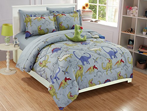 - Fancy Linen Collection 6 pc Twin size DINOSAUR Grey blue Yellow Kids/Teens Comforter set With Furry Buddy Included