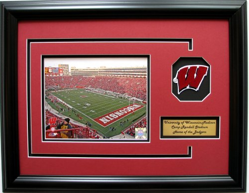 NCAA Wisconsin Badgers Camp Randall Stadium Framed Landscape Photo with Team Patch and Nameplate (Football Stadium Wisconsin)