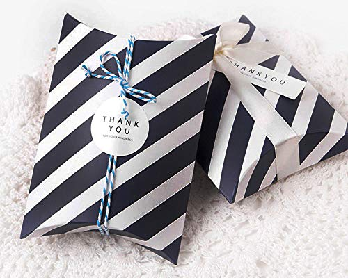 AimtoHome Pillow Candy Box Stripes Pillow Style Design for Wedding Baby Shower Birthday Party Supplies Favor Box Party Favors Pack of - Stripe Pillow Ribbon