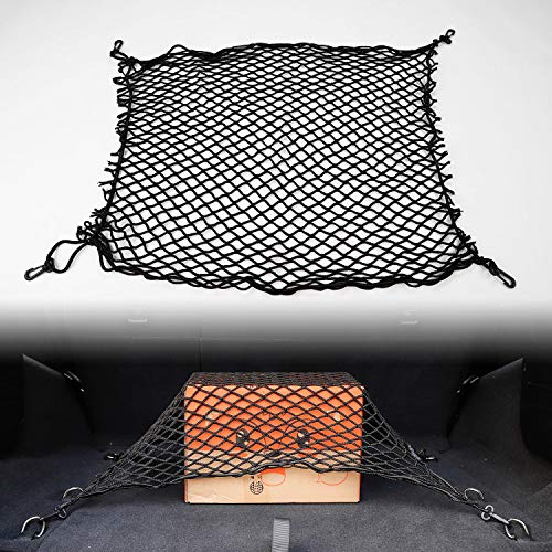 Car Universal Rear Trunk Network Cargo Storage Organizer with 4 Hook for Jeep SUV (32.2''x18.5'')
