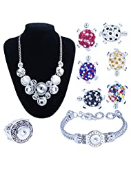 Soleebee Interchangeable Alloy Rhinestones Snap Button Jewelry Charms Silver Set Bonus 12pcs 12mm Buttons+6pcs Dot Tortoise Buttons