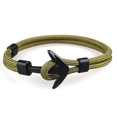 Jiuyuan Anchor Bracelets Charm Survival Rope Chain Bracelet Male Wrap Metal Sport Hooks