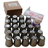 Russian Piping Tips Set by Smart Chef Custo, Icing Nozzles Cake Decoration Tips, Home Baking DIY Tools - 30 PCS/SET (23 Large Size Stainless Steel Nozzles, 1 Tri-Color Coupler and 6 Pastry Bags)