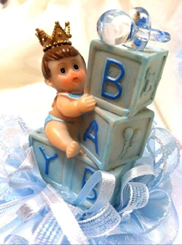 Little Royal Prince Baby Boy Blocks Baby Shower Cake Top Centerpiece Decoration
