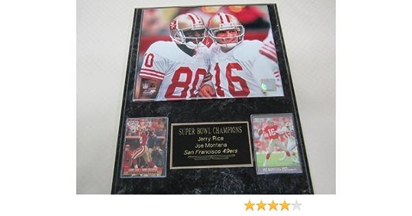 49ers Joe Montana 2 Card Collector Plaque w//8x10 Photo Super Bowl Rings