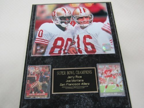 49ers Joe Montana Jerry Rice 2 Card Collector Plaque w/8x10 Photo