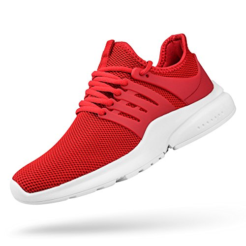 (ZOCAVIA Men's Fashion Sneakers Mesh Breathable Comfortable Walking Gym Shoes Red White 10 D(M) US)