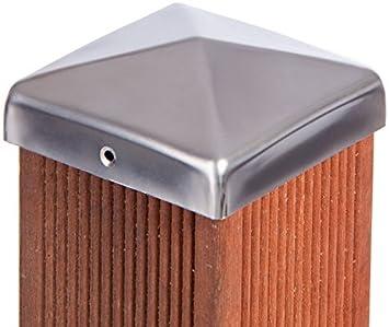 VA-Schrauben Pfostenkappe schwarz Pyramide f/ür Pfosten inkl 8x8 cm
