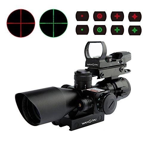 WANGPAI 3 in 1 Combo Scope, 4 Reticle Green&Red Dot Sight on Top with 2.5-10x40 Rifle Scope and Red Laser, 22mm & 11mm Easy Changed Rail Mount (Free Warranty)
