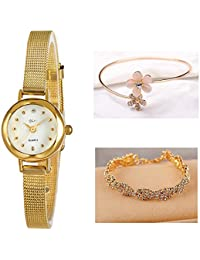 Women's Wrist Watches with Gold Case and Gold Band (# Green)