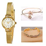Daimon Women's Wrist Watches with Gold Case and Gold Band (# Green)