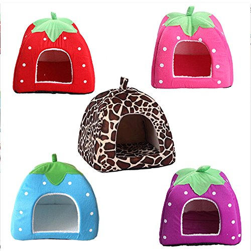Soft Strawberry Pet Dog Cat Bed House Coffee - 7
