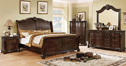 - Isidora Collection Traditional Bedroom Set Cherry Finish Antique Formal Eastern King Size Sleigh Bed Dresser Mirror Nightstand 4pc Set