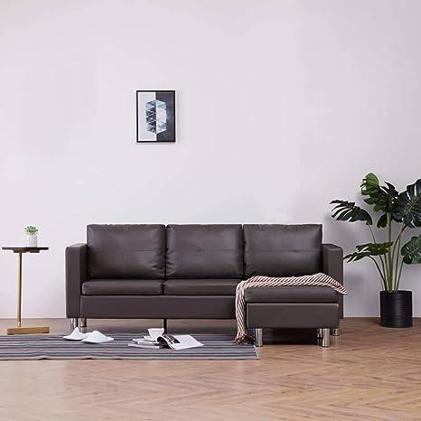 UnfadeMemory Sofá de 3 Plazas con Chaise Longe,Sofá de Salon,Decoración de Hogar,Cojines y Tapicería de Piel Sintética,188x122x77cm (Gris)