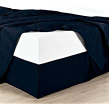 """King Solid Navy Wrinkle-Free Microfiber Bed-Skirt, Pleated Tailored Bed Skirt with 14"""" Drop, 95gsm, 100% Microfiber."""