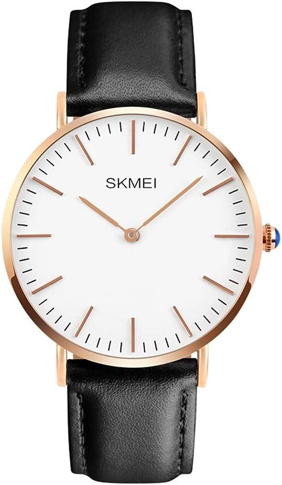 Gosasa Men s Waterproof Classical White Dial Leather Ultra-thin Case Quartz Simple Dress Watch